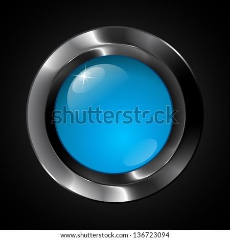 Black metallic button with glass center - stock vector