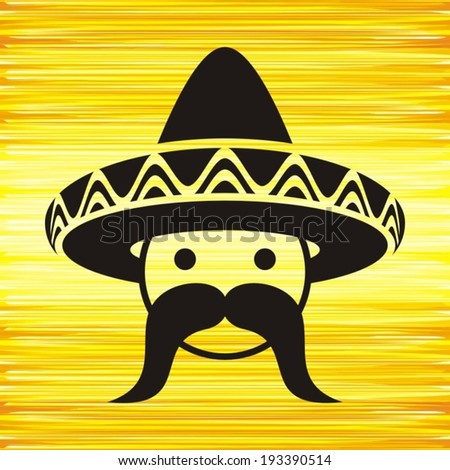 Black mexican face with sombrero on yellow background - stock vector