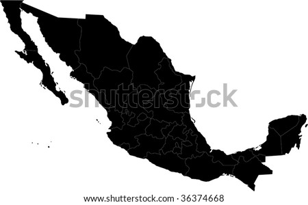 Black Mexico map separated on the states