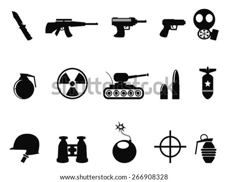 Black Military and Army Icons set - stock vector