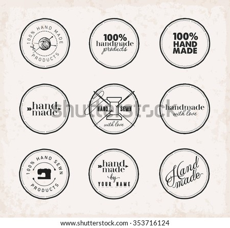Black Minimal Hand Made and Home Made Badge Set on Grungy Background - stock vector