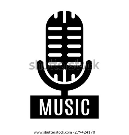 Black minimalistic graphic stylized music microphone logo isolated on white background. - stock vector