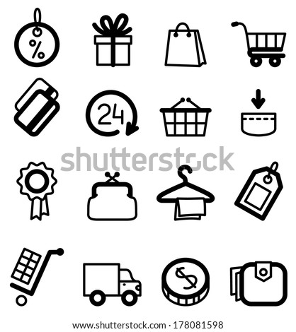 Black minimalistic shopping icons set - stock vector