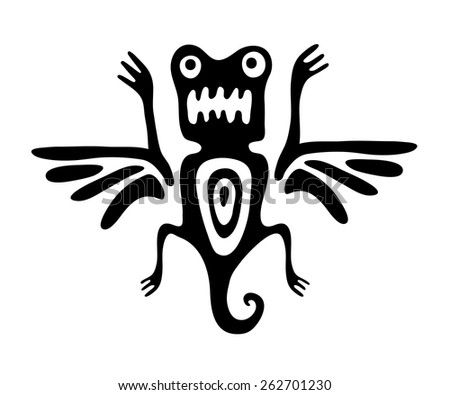 black mite or beetle in native style, vector illustration - stock vector