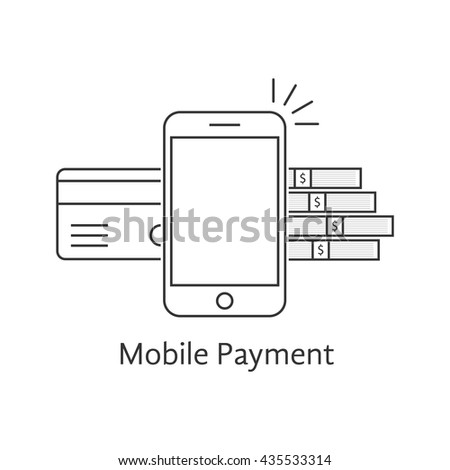black mobile payment thin line icon. concept of nfc, telephone, ecommerce, balance, electronic gadget, dollar debit. flat outline style trend modern logo design vector illustration on white background - stock vector