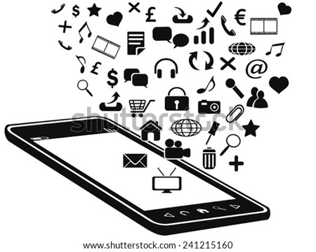 black mobile phone and icons - stock vector