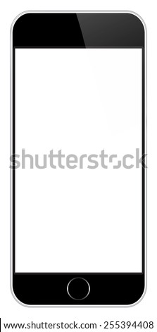 Black Mobile Phone In iPhone Style Isolated - stock vector