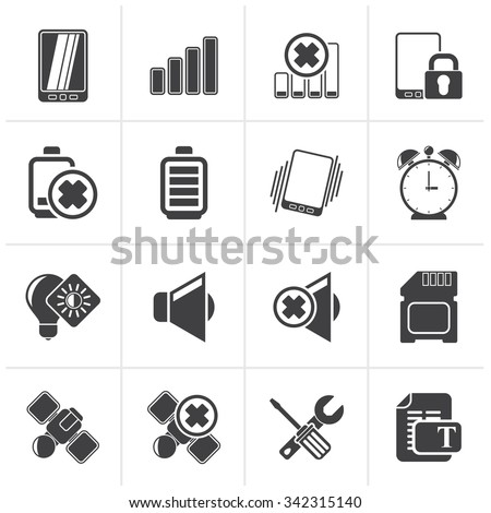 Black Mobile Phone sign icons - vector icon set - stock vector