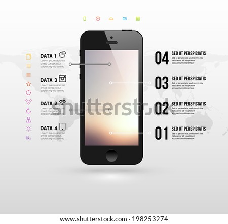 Black Mobile Phone with Blurred Background and World Map. Flat Design Icons. Vector. - stock vector