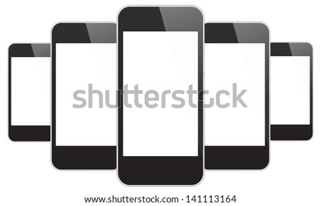 Black Mobile Phones In iPhone Style - stock vector