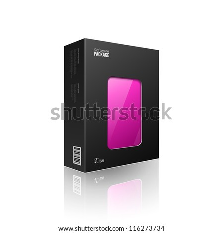 Black Modern Software Package Box With Purple Violet Magenta Window For DVD Or CD Disk EPS10 - stock vector
