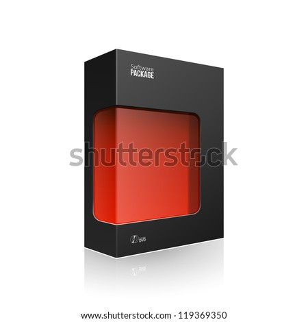 Black Modern Software Product Package Box With Red Window For DVD Or CD Disk EPS10 - stock vector