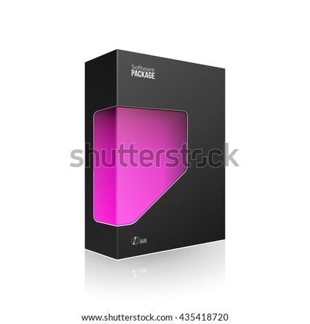 Black Modern Software Product Package Box With Violet Purple Magenta Window For DVD Or CD Disk. 3D Products On White Background Isolated. Ready For Your Design. Vector EPS10 - stock vector