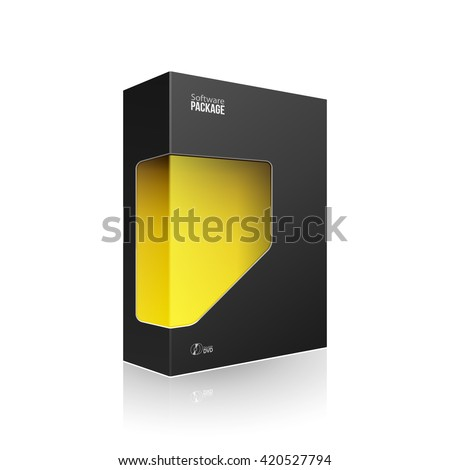 Black Modern Software Product Package Box With Yellow Orange Window For DVD Or CD Disk. 3D Products On White Background Isolated. Ready For Your Design. Vector EPS10 - stock vector