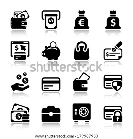 black money icons set, for business and finance. with reflex - stock vector