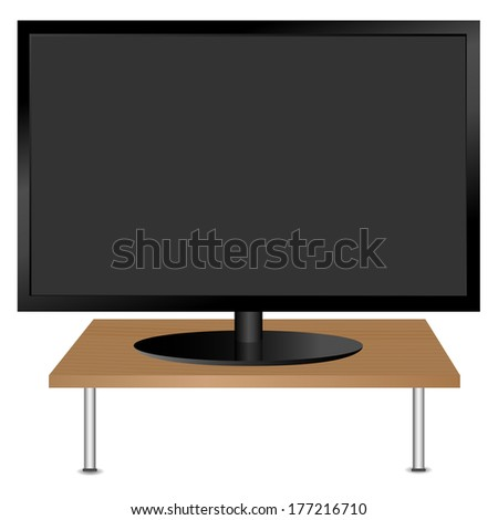 Black monitor on the table. Vector. - stock vector