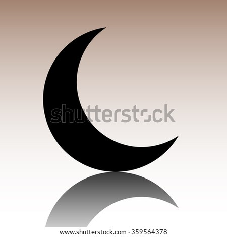 Black Moon icon. Vector illustration with reflection - stock vector