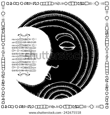 Black Moon illustration with black frame - stock vector