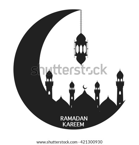 Black Moon With Mosque And Lantern On White Background Vector Illustration Happy Ramadan Kareem Greeting