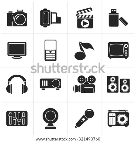 Black multimedia and technology icons - vector icon set - stock vector