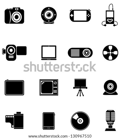 Black Multimedia vector icons - stock vector