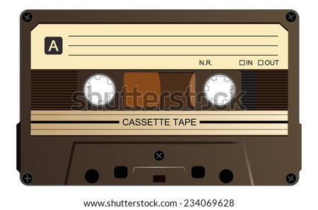 Black music casette, cassette tape with old dirty yellowed label, vector art image illustration, isolated on white background, eps10  - stock vector