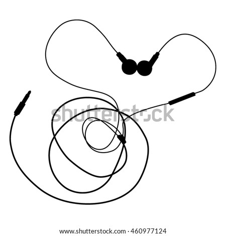Black music earphones with connector on white background. vector and illustration design.