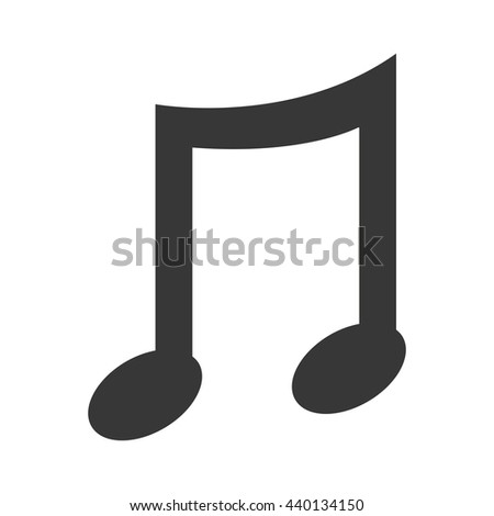 black music note front view over isolated background,vector illustration - stock vector