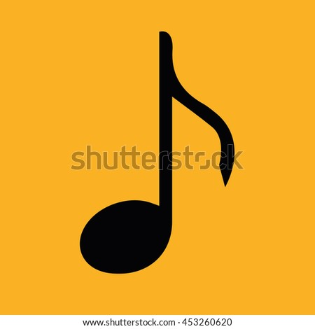 Black music note vector icon. Yellow background - stock vector