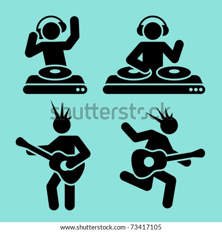 black music pictograms of dj and guitar player