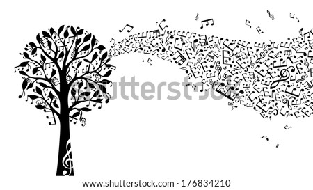 Black music tree isolated on white background. Music notes and treble clefs on tree. Music wave. Vector illustration.  - stock vector