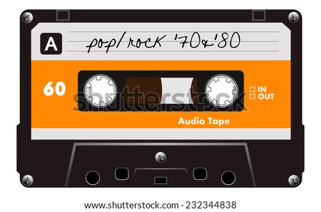 Black musiccasette with orange and gray dirty label, audio cassette tape, vector art image illustration, old music technology concept, realistic retro style design. isolated on white background, eps10 - stock vector