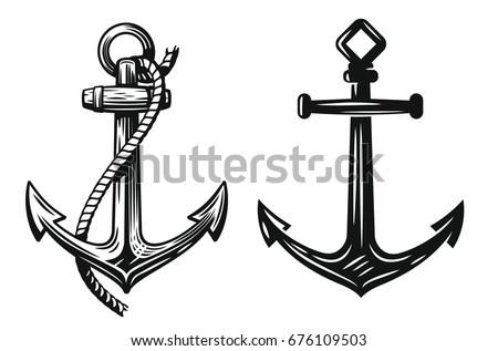 black nautical anchor vector on white stock vector