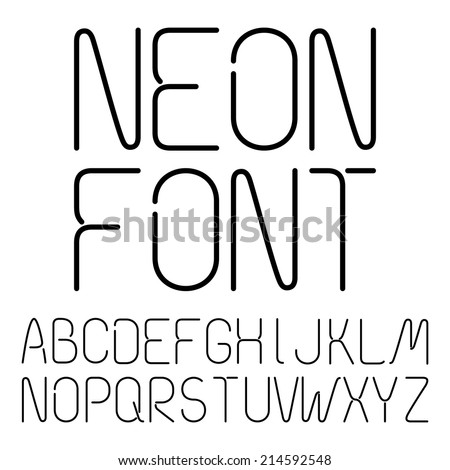 Black Neon Letters, Alphabet On A White Background - stock vector