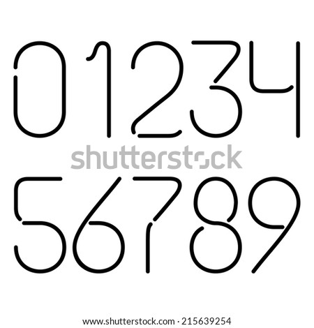 Black Neon Numbers On A White Background - stock vector