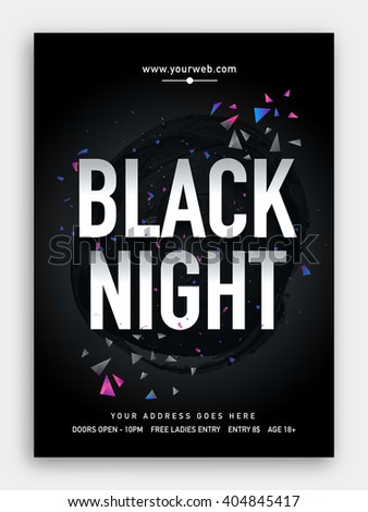 Black Night, Musical Party Template, Dance Party Flyer, Night Party Banner or Club Invitation