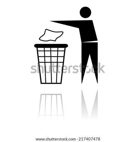 black no littering sign isolated with shadow - stock vector
