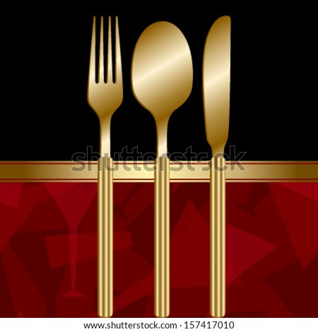 black noble menu with red wine glass pattern & gold cutlery - stock vector