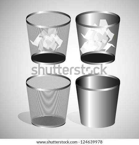 black office basket crumpled paper - stock vector