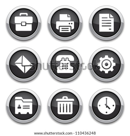 black office buttons - stock vector