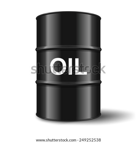 black oil barrel on white background - stock vector