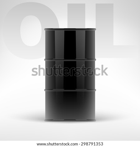 Black oil barrel vector illustration. Isolated oil barrel on white background.