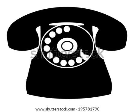 Black Old Classic Home Phone Retro Stock Vector 195781790 ...