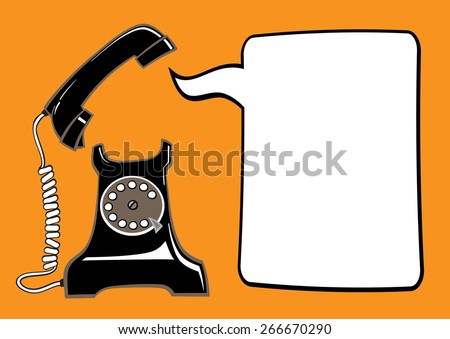 black old fashioned rotary phone with picked up handset and speech bubble on orange background - stock vector