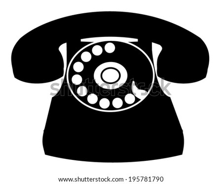 Black old home phone web icon, isolated on white background, communication symbol, retro traditional rotary telephone - silhouette sign, vector art image illustration - stock vector