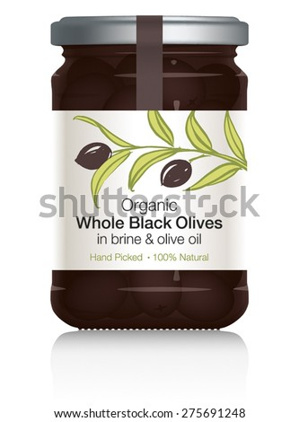Black Olives Glass Jar with Label Design - black ripe olives on branch with leaves on white label. Silver lid. Hand drawn with brush & ink. Vector visual illustration. Fully adjustable & scalable. - stock vector