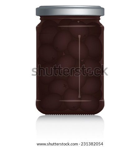 Black Olives Jar vector visual illustration, Drawn with mesh tool. Fully adjustable & scalable. - stock vector