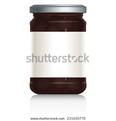 Black Olives Jar with blank white label, vector visual illustration, Drawn with mesh tool. Fully adjustable & scalable. - stock vector