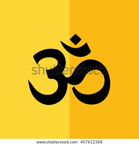 Black Om symbol of Hinduism vector icon. Yellow background - stock vector