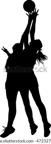 Black on silhouette of girls ladies netball players competing for ball in air